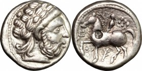 Celtic World. The Scordisci. AR Tetradrachm imitating Philip II of Macedon, 'Roman numeral' type. Syrmia, first half of 3rd cent. BC. D/ Head of Zeus ...