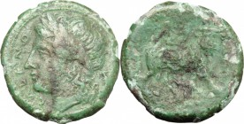 Greek Italy. Samnium, Southern Latium and Northern Campania, Cales. AE, 265-240 BC. D/ Head of Apollo left, laureate. R/ Man-headed bull right. HN Ita...
