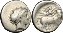 Greek Italy. Central and Southern Campania, Neapolis. AR Didrachm, c. 300 BC. D/ Female head right. R/ Man-headed bull right; above, Nike flying right...