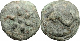 Greek Italy. Northern Apulia, Luceria. AE cast Terunx, 225-217 BC. D/ Six-rayed star. R/ Dolphin left. HN Italy 672. AE. g. 96.12 mm. 42.00 Earthy gre...