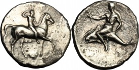 Greek Italy. Southern Apulia, Tarentum. AR Nomos, 332-302 BC. D/ Horseman right, crowning himself; below, Ionic capital. R/ Phalantos riding on dolphi...