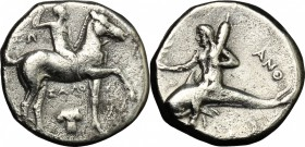 Greek Italy. Southern Apulia, Tarentum. AR Nomos, 280-272 BC. D/ Horseman right, crowning himself; below, Ionic capital. R/ Phalantos riding on dolphi...