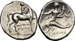 Greek Italy. Southern Apulia, Tarentum. AR Nomos, 272-240 BC. D/ Horseman right, crowning his horse. R/ Phalantos riding on dolphin left, holding kant...