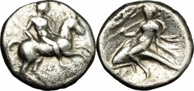 Greek Italy. Southern Apulia, Tarentum. AR Nomos, 272-240 BC. D/ Horseman right. R/ Phalantos riding on dolphin left. HN Italy 1035. Vlasto 887. AR. g...