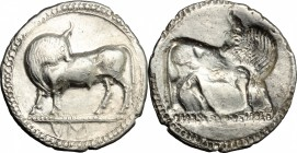 Greek Italy. Southern Lucania, Sybaris. AR Stater, 550-510 BC. D/ Bull standing left, head turned back; in exergue, VM. R/ Incuse bull standing right,...