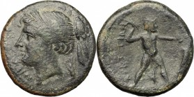 Greek Italy. Bruttium, The Brettii. AE Half Unit, circa 214-211 BC. Fourth Coinage. D/ Head of Nike left, diademed; to right, ear of grain. R/ Zeus st...