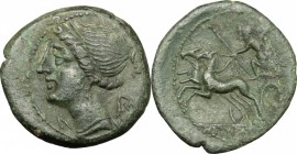 Greek Italy. Bruttium, The Brettii. AE Half, 211-208 BC. D/ Bust of Nike left, diademed. R/ Zeus in biga left, holding scepter and hurling thunderbolt...