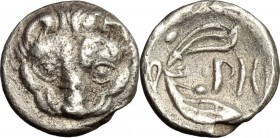 Greek Italy. Bruttium, Rhegion. AR Litra, 415-387 BC. D/ Lion mask facing. R/ PH between two leaves of olive-spring. HN Italy 2499. AR. g. 0.95 mm. 10...