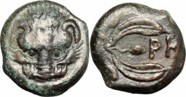 Greek Italy. Bruttium, Rhegion. AE 17 mm, c. 425-410 BC. D/ Lion mask facing. R/ PH between two leaves of olive-spring. HN Italy 2520. SNG Cop. 1939. ...