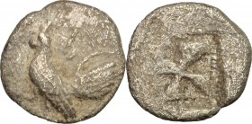 Sicily. Himera. AR Obol, before 482 BC. D/ Rooster standing left. R/ Incuse square with windmill pattern. SNG Cop. 297. AR. g. 0.83 mm. 11.00 Toned. A...