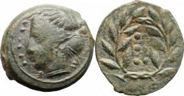 Sicily. Himera. AE Hemilitron, before 407 BC. D/ Head of nymph left; before, six pellets (mark of value). R/ Six pellets (mark of value) within wreath...