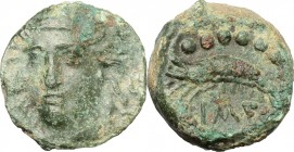 Sicily. Himera. AE 10mm, before 407 BC. D/ Head of nymph facing slightly left. R/ Crayfish left. CNS I, 36. AE. g. 1.75 mm. 12.00 Green patina. About ...