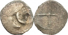 Sicily. Syracuse. AR Hemiobol, 485-478 BC. D/ Head of Artemis-Arethusa right. R/ Wheel with four spokes. SNG Cop. 627. BMC 56. AR. g. 0.31 mm. 9.00 To...