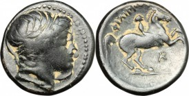Continental Greece. Kings of Macedon. Philip II (359-336 BC). AE 18mm, 359-336 BC. D/ Head of Apollo right, wearing taenia. R/ Horseman galloping righ...