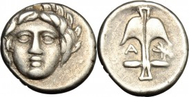 Continental Greece. Thrace, Apollonia Pontika. AR Diobol, after 400 BC. D/ Head of Apollonia facing. R/ Anchor with A and crayfish. SNG Cop. 459-461. ...