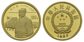 China Volksrepublik seit 1949 (B) 100 Yuan 1988 (11,38 g), Zhao Kuangyin. Fr:22,KM:211 Gold  Originalbox Proof