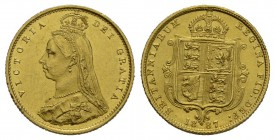 England Victoria, 1837-1901 1/2 Sovereign 1887. Friedb. 393, Se­aby 3869, Schlumb. 371  Gold 3.99g prächtige Erhaltung fast FDC