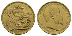 England Edward VII. 1901-1910 Sovereign 1907, o.Mzz.-London Spink 3969 Friedberg 400 Schlumberger 481 GOLD. 7.96 g. vorzüglich bis unzirkuliert