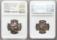 MACEDONIAN KINGDOM. Alexander III the Great (336-323 BC). AR tetradrachm (23mm, 16.99 gm, 2h). NGC Fine 5/5 - 3/5, test marks. Lifetime issue of 'Baby...