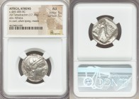 ATTICA. Athens. Ca. 465-455 BC. AR tetradrachm (22mm, 17.19 gm, 5h). NGC AU 5/5 - 5/5. Head of Athena right, wearing crested Attic helmet ornamented w...