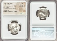 ATTICA. Athens. Ca. 455-440 BC. AR tetradrachm (23mm, 17.18 gm, 3h). NGC XF 5/5 - 4/5. Early transitional issue. Head of Athena right, wearing crested...