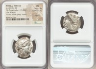ATTICA. Athens. Ca. 440-404 BC. AR tetradrachm (23mm, 17.22 gm, 4h). NGC MS 4/5 - 4/5, die shift. Mid-mass coinage issue. Head of Athena right, wearin...