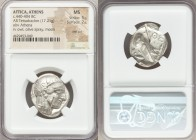 ATTICA. Athens. Ca. 440-404 BC. AR tetradrachm (23mm, 17.21 gm, 4h). NGC MS 5/5 - 2/5, test cut. Mid-mass coinage issue. Head of Athena right, wearing...