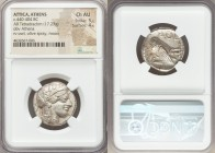 ATTICA. Athens. Ca. 440-404 BC. AR tetradrachm (24mm, 17.23 gm, 3h). NGC Choice AU 5/5 - 4/5. Mid-mass coinage issue. Head of Athena right, wearing cr...