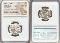 ATTICA. Athens. Ca. 440-404 BC. AR tetradrachm (24mm, 17.19 gm, 6h). NGC Choice AU 4/5 - 5/5. Mid-mass coinage issue. Head of Athena right, wearing cr...