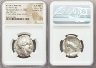 ATTICA. Athens. Ca. 440-404 BC. AR tetradrachm (24mm, 17.17 gm, 9h). NGC Choice AU 4/5 - 5/5. Mid-mass coinage issue. Head of Athena right, wearing cr...