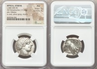 ATTICA. Athens. Ca. 440-404 BC. AR tetradrachm (24mm, 17.18 gm, 9h). NGC AU 5/5 - 4/5. Mid-mass coinage issue. Head of Athena right, wearing crested A...