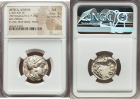 ATTICA. Athens. Ca. 440-404 BC. AR tetradrachm (23mm, 17.18 gm, 2h). NGC AU 5/5 - 4/5. Mid-mass coinage issue. Head of Athena right, wearing crested A...