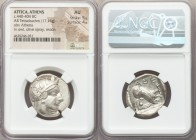 ATTICA. Athens. Ca. 440-404 BC. AR tetradrachm (25mm, 17.16 gm, 8h). NGC AU 5/5 - 4/5. Mid-mass coinage issue. Head of Athena right, wearing crested A...