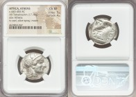 ATTICA. Athens. Ca. 440-404 BC. AR tetradrachm (25mm, 17.18 gm, 7h). NGC Choice XF 5/5 - 4/5. Mid-mass coinage issue. Head of Athena right, wearing cr...