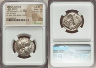 ATTICA. Athens. Ca. 440-404 BC. AR tetradrachm (25mm, 17.22 gm, 4h). NGC Choice XF 5/5 - 3/5. Mid-mass coinage issue. Head of Athena right, wearing cr...