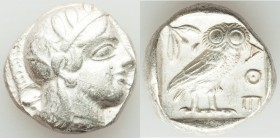 ATTICA. Athens. Ca. 440-404 BC. AR tetradrachm (23mm, 17.19 gm, 12h). XF, scratch. Mid-mass coinage issue. Head of Athena right, wearing crested Attic...