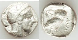 ATTICA. Athens. Ca. 440-404 BC. AR tetradrachm (25mm, 17.16 gm, 4h). VF, marks. Mid-mass coinage issue. Head of Athena right, wearing crested Attic he...