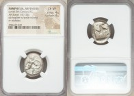 PAMPHYLIA. Aspendus. Ca. mid-5th century BC. AR stater (18mm, 10.73 gm). NGC Choice VF 4/5 - 4/5. Helmeted hoplite advancing right, spear forward in r...