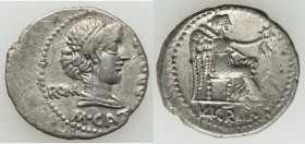 M. Porcius Cato (89 BC). AR denarius (19mm, 3.31 gm, 6h). Choice VF. ROMA (MA ligate) behind and M•CATO (AT ligate) below, draped bust of Roma right, ...