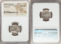 C. Licinius L.f. Macer (84 BC). AR denarius (21mm, 5h). NGC Choice XF. Rome. Diademed bust of Apollo left, shoulder draped, brandishing thunderbolt, v...