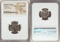 M. Plaetorius M.f. Cestianus (67 or 57 BC). AR denarius. NGC Choice VF. Rome. Turreted bust of Cybele right, CESTIANVS behind, globe under chin / Curu...