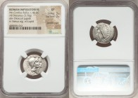 Mn. Cordius Rufus (ca. 46 BC). AR denarius (20mm, 3.76 gm, 5h). NGC XF 3/5 - 3/5, bankers marks. Rome. RVFVS•III•VIR, conjoined heads of the Dioscuri ...