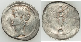 Octavian, as sole Imperator (31-27 BC). AR denarius (20mm, 3.43 gm, 8h). About VF. Italian mint, 31-30 BC. Bare head of Octavian left, linear border /...