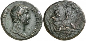 (136 d.C.). Adriano. As. (Spink falta) (Co. 996) (RIC. 862). 11,41 g. MBC-.