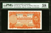 Australia Commonwealth of Australia 10 Shillings ND (1942) Pick 25b PMG Choice About Unc 58.   HID09801242017
