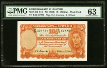 Australia Commonwealth of Australia 10 Shillings ND (1952) Pick 25d PMG Choice Uncirculated 63.   HID09801242017