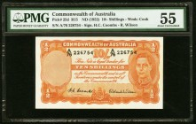 Australia Commonwealth of Australia 10 Shillings ND (1952) Pick 25d PMG About Uncirculated 55.   HID09801242017