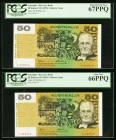 Australia Reserve Bank of Australia 50 Dollars ND (1995) Pick 47i Two Collector Issue Examples PCGS Superb Gem New 67PPQ; Gem New 66PPQ. Same serial n...