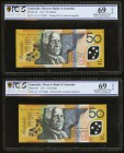 Australia Reserve Bank of Australia 50 Dollars 2001 Pick 60 Two Consecutive Examples PCGS Gold Shield Superb Gem New 69OPQ.   HID09801242017