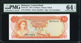 Bahamas Central Bank of the Bahamas 5 Dollars 1974 Pick 37a PMG Choice Uncirculated 64 EPQ.   HID09801242017